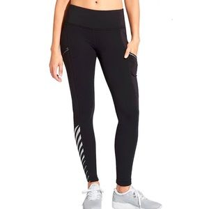 Athleta Powerlift Reflective Fleece-lined Tights